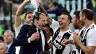 Juventus coach Massimiliano Allegri celebrates winning the league title in April. Photograph:  Massimo Pinca/Reuters