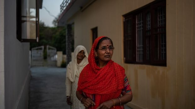 Lata Devi, whose husband is a retired railway official, at her home in Dhangard village, India. Photograph: Rebecca Conway/The New York Times