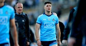 Dublin's David Treacy dejected after losing to Kilkenny in Nowlan Park. He missed three frees at key points in the match. Photograph: Ryan Byrne/Inpho