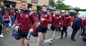 Gary O'Donnell and the Galway team arrive at McGovern Park, Ruislip,  to face London in the Connacht quarter-final. They are unlikely to be tested by Sligo. Photograph: Inpho