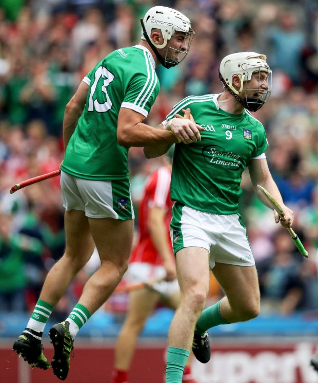Limerick's Cian Lynch celebrates scoring a goal with Aaron Gillane on the way to lifting the MacCarthy Cup last summer in Croke Park. File photograph: Tommy Dickson/Inpho