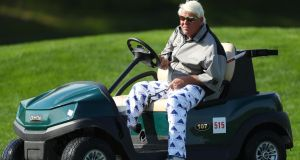John Daly on his golf buggy  on the fifth hole during the second round of the US PGA Championship at  Bethpage Black. Photograph: Warren Little/Getty Images
