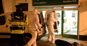Garda forensic team enter the Woodbine Park Post Office after shots were fired.   File photograph: Cyril Byrne/The Irish Times