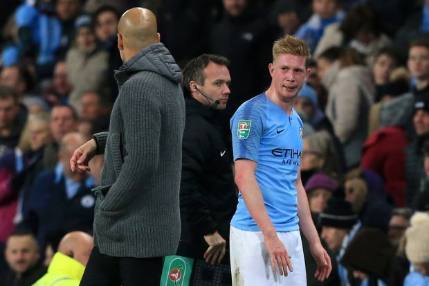 De Bruyne speaks with City's manager Pep Guardiola (left) as he leaves the field after picking up an injury against Fulham on November 1st. Photograph: Lindsey Parnaby/AFP/Getty