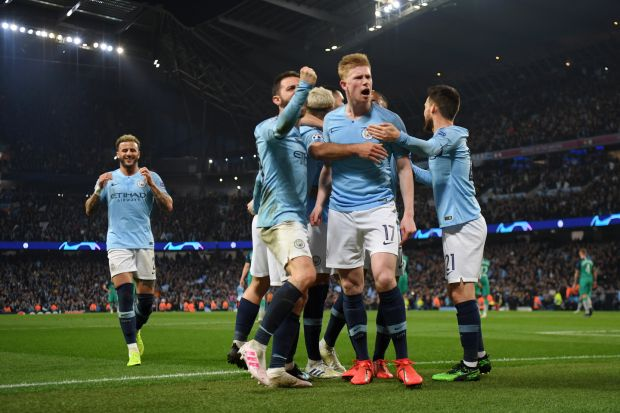 Kevin De Bruyne and Bernardo Silva of celebrate with teammates after their team's fourth goal during the UEFA Champions League quarter final second leg match against Tottenham Hotspur at the Etihad Stadium on April 17th. Photograph: Shaun Botterill/Getty