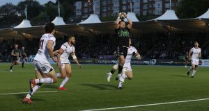 Pete Horne of Glasgow Warriors catches a  kick to run through and score his team's sixth try during the Guinness Pro 14 semi-final against  Ulster at Scotstoun Stadium. Photograph: Ian MacNicol/Getty Images