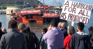 A protest at Greystones harbour over the prevention of commercial fishermen landing catches since a €300 million redevelopment.