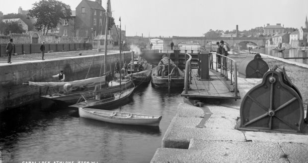Barges and boats at the weir on the Shannon at Athlone, circa 1895. Photograph: National Library of Ireland/Flickr commons