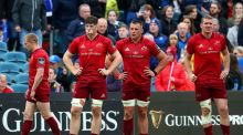 Munster's Keith Earls, Jack O'Donoghue, CJ Stander and Chris Farrell dejected at the final whistle of the Guinness Pro 14 semi-final against Leinster at the  RDS. Photograph: James Crombie/Inpho