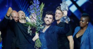 Duncan Laurence, representing The Netherlands, wins the 64th   Eurovision Song Contest in  Tel Aviv. Photograph: Michael Campanella/Getty Images