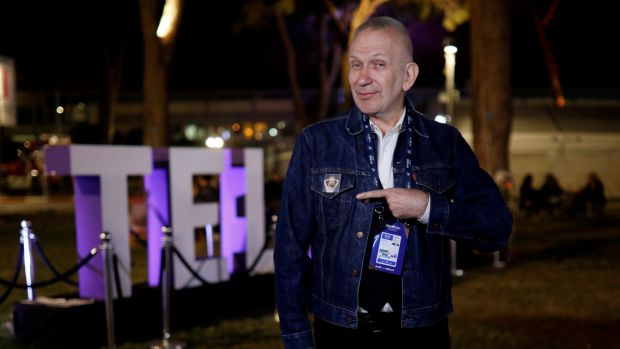 Fashion Designer Jean Paul Gaultier at the venue of the 2019 Eurovision song contest in Tel Aviv. Photograph: Amir Cohen/Reuters