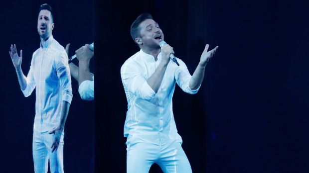 Sergey Lazarev representing Russia, performs live on stage during the 64th annual Eurovision Song Contest. Photograph: Michael Campanella/Getty Images