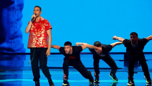 Italy's Mahmood performs the song Soldi during the final of the 64th Eurovision Song Contest in Tel Aviv. Photograph: Jack Guez/AFP/Getty Images