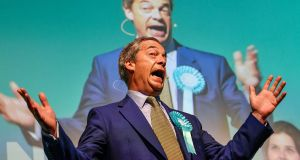 Nigel Farage at a rally with the Brexit Party's European election candidates at the Corn Exchange in Edinburgh, Scotland,  on May 17th. Photograph:  Jeff J Mitchell/Getty Images