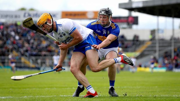 Tipperary's Willie Connors challenges Thomas Ryan of Waterford during the Munster SHC game at Semple Stadium Photograph: Ryan Byrne/Inpho