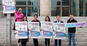 Representatives from some of Ireland's leading charities and The Wheel, outside Dublin City Council offices on Wood Quay. File photograph: Tom Honan
