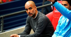 Pep Guardiola  at Wembley Stadium on Saturday.  Pep looked less like a happy football coach watching his side make history and more like an anguished scientist whose prototype civil defence robot has just run amok at a trade show. Photograph: Neil Hall/EPA
