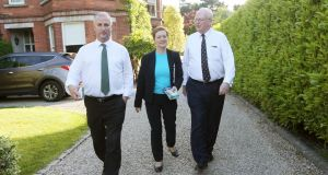 Local election candidate Samantha Long canvasses with Senators Victor Boyhan (left) and Michael McDowell in Dartry, Dublin. Photograph: Laura Hutton