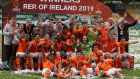 The Netherlands team celebrate with the cup after victory in the European Under-17 Championship final at Tallaght Stadium. Photograph: PA