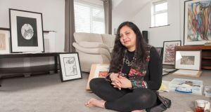 Hina Khan, an artist from Pakistan, who moved to Ireland with her family in 2015, at home in Kinsale, Co Cork. Photograph: Daragh Mc Sweeney/ Provision