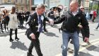 Brexit Party leader Nigel gestures after being hit with a milkshake while arriving for a Brexit Party campaign event in Newcastle. Photograph: Reuters