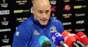Leinster backs coach Felipe Contepomi during Monday's press conference at UCD. Photograph: Laszlo Geczo/Inpho