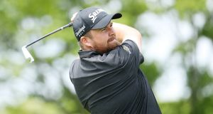 Shane Lowry on  the second tee during his  final round of the  PGA Championship at  Bethpage Black, New York. Photograph:   Christian Petersen/Getty Images