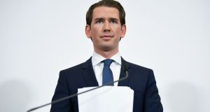 Austrian Chancellor Sebastian Kurz after announcing new elections in Austria in a statement in Vienna on Saturday. Photograph: Christian Bruna/EPA