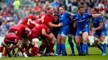 Leinster's Tadhg Furlong, Sean Cronin and Cian Healy argue as Munster win a scrum penalty in their Guinness Pro14 semi-final at the RDS, Dublin, last Saturday.  Photograph: James Crombie/Inpho