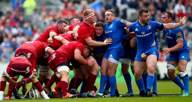 f7d6d7a56df Leinster's Tadhg Furlong, Sean Cronin and Cian Healy argue as Munster win a  scrum penalty
