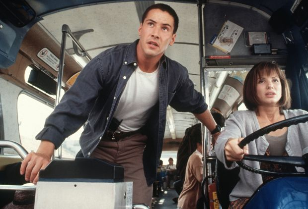 Keanu Reeves: still deliciously enjoyable in Speed, with Sandra Bullock, from 1994