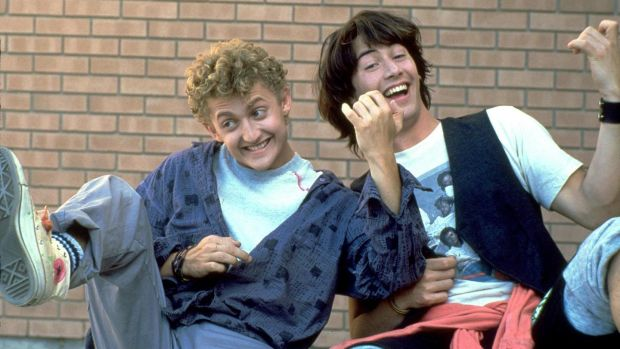 Keanu Reeves with Alex Winter in Bill and Ted's Excellent Adventure