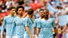 Manchester City players during their 6-0 FA Cup final win over Watford at Wembley. Photograph: Neill Hall/EPA