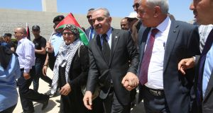 "Prime minister Mohammad Shtayyeh (centre)  told his  cabinet that Palestinians ""do not trade our national rights for money"". Photograph: Alaa Badarneh/EPA"