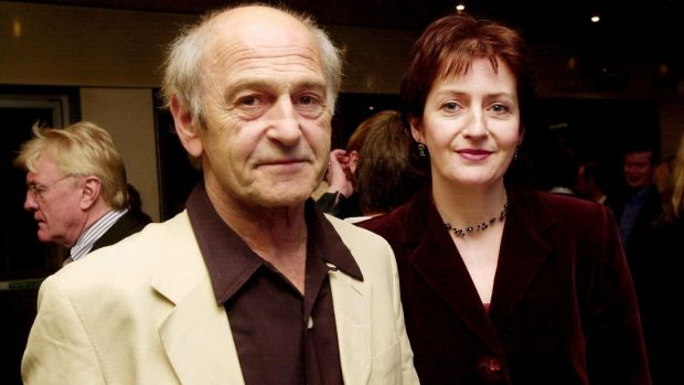 Tom Murphy and Jane Brennan at the opening of A Whistle in the Dark at the Abbey Theatre in October 2001. Photograph: Cyril Byrne/The Irish Times