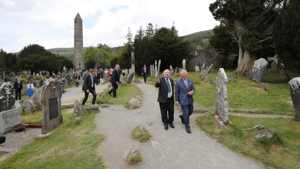 Prince Charles visits Glendalough monastic settlement. Photograph: Niall Carson - Pool /Getty Images