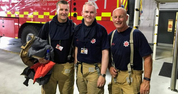 Kevin Cullinane (centre), head of communications at Cork Airport, with   airport Fire & Police colleagues Alan O'Leary and Anthony Healy