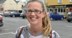 Fine Gael local election candidate Becky Loftus Dore canvassing in Kinnegad, Co Westmeath. Photograph: Dara Mac Dónaill