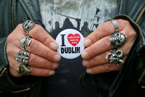 I LOVE DUBLIN: A Polish service-user displays a badge at Merchant's Quay Ireland, a drop-in centre for homeless people which marked World Day for Cultural Diversity by inviting men and women to drop by for food and music. Photograph: Nick Bradshaw