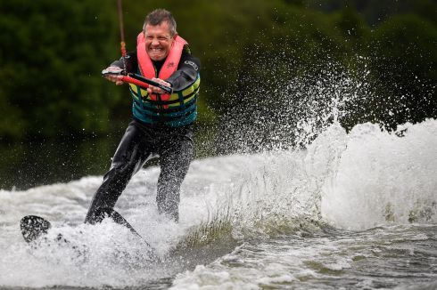 ELECTION RUSH: Willie Rennie, leader of the Scottish Liberal Democrats, water-skies during a European election campaign event at Water Ski & Wakeboard Scotland in Dunfermline, Scotland. Photograph: Jeff J Mitchell/Getty