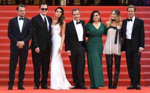 RED CARPET: Leonardo DiCaprio, Quentin Tarantino, Daniela Pick, David Heyman, Shannon McIntosh, Margot Robbie and Brad Pitt at the screening of Once Upon A Time In Hollywood during the 72nd annual Cannes Film Festival  in Cannes, France. Photograph: Matt Winkelmeyer/Getty Images