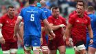 CJ Stander provided physicality for Munster on a day they were outgunned by Leinster. Photograph: James Crombie/Inpho