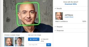 An image provided by Amazon shows on the company's website how its Rekognition software works with chief executive Jeff Bezos. Facial recognition software is coming under increasing scrutiny from civil liberties groups and lawmakers.