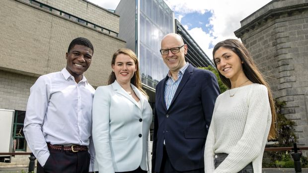 Trinity College School of Business.Henry Adedeji, Business and Economics Student,Aimee Carton, MsC Entrepreneurship.Andrew Burke, Dean, Trinity Business School,Dina Abu-Rahmeh, Undergraduate, Global Business.Iain White - Fennell Photography.