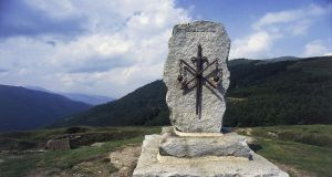 Monument to Roland in Roncesvalles, on the Camino de Santiago de Compostela. Photograph: DeAgostini/Getty Images