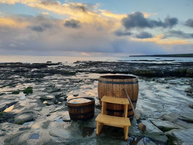 Wild Atlantic Seaweed Baths offers whiskey-barrel hot tubs on its tours of the west coast