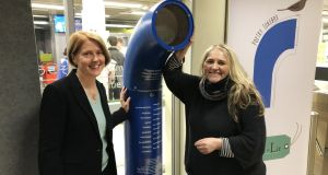 Lucy Collins and Maria McManus with the poetry jukebox