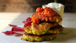 Sweetcorn fritters with chilli butter