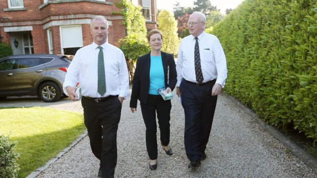 Local elections, Kimmage-Rathmines: Samantha Long (Independent) canvasses with Senators Victor Boyhan (left) and Michael McDowell in Dartry, Dublin. Photograph: Laura Hutton/The Irish Times