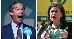 """Sinn Féin may find the backhanded compliment from [Nigel] Farage unwelcome but it is not the first time the two forces have found common ground."" Photographs: EPA/Getty"